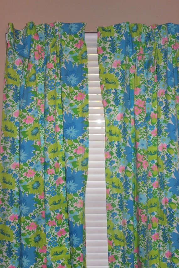 Vintage Curtains - Pastel Floral Print - 36X80 - 2 Panels with matching tie backs - 60s era