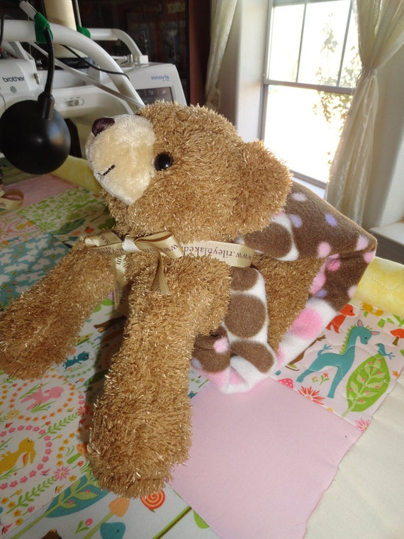 011.   critter blanket with brown teddy bear for a girl