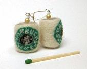 Needle felted earrings - Starbucks coffee cup - summer jewelry - cute gift