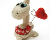 Valentine's day felted dragon - needle felted animal - miniature white dragon with red heart