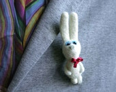 "Needle felted brooch ""bunny"", white - ready to ship"