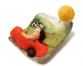 "Felted jewelry - handmade felted brooch  ""vacation on country side"""