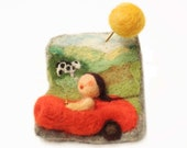 "Felted jewelry - handmade brooch  ""vacation on country side"", budget - friendly gift"