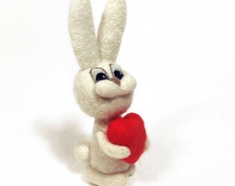 Needle felted rabbit with huge heart - Valentine's day gift - miniature bunny - felt animal