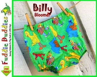 Billy.....Boys Bloomer Pattern, Bloomer Sewing Pattern, Diaper Cover Pattern, pdf pattern, INSTANT DOWNLOAD. NB-18mo.  Iron-on Appliques