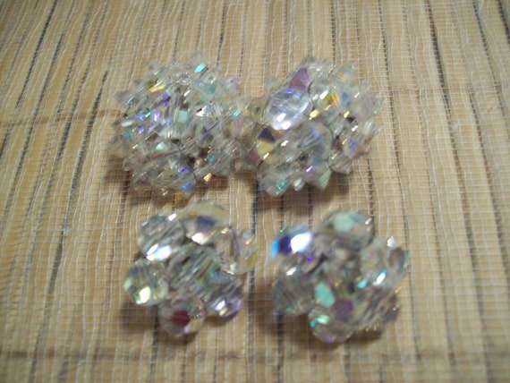 2 Pair of Vintage Iridescent Clip back Earrings