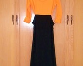 SALE  -  Orange and Black Knit Lounging Dress