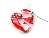 Red Heart Pendant-Wire Wrapped and Resin Pendant