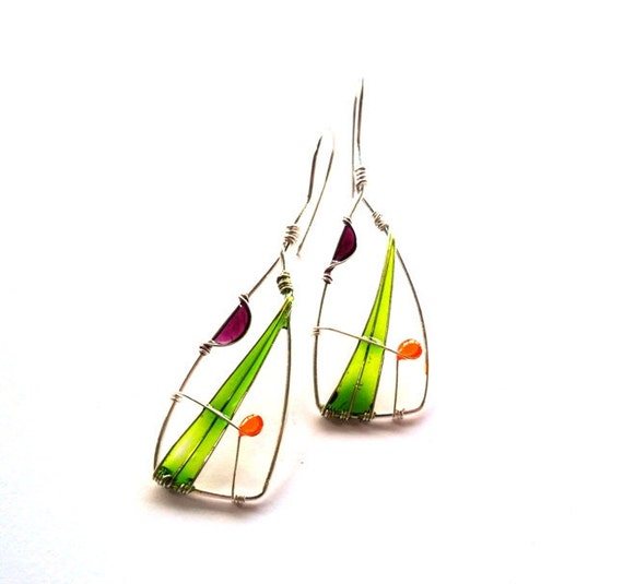Green triangle earrings, wire wrapped earrings, geometric earrings, free shipping, resin earrings, silver plated