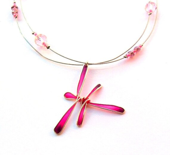 Dragonfly necklace, neon pink resin pendant, nature inspired