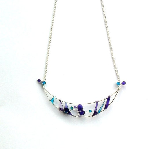 SALE -30% Semi Lunar Necklace - Purple Turquoise Resin Necklace - Wire Wrapped Necklace teamt