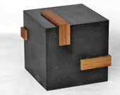Concrete cube side table w/ cherry wood