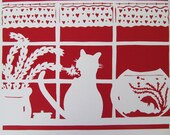 PRINT Cat in Window Valentine Papercut  Silhouette Scarlet and White