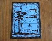 Print Sailboat Seascape Original  Paper Cut Wall Art