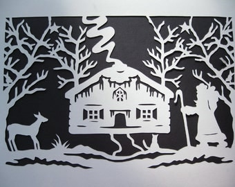 Retro Christmas Decor Santa Cat Deer Papercut Silhouette Wall Art