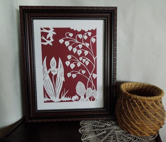 Crimson Woodland Swallows  Silhouette Papercut Wall Art
