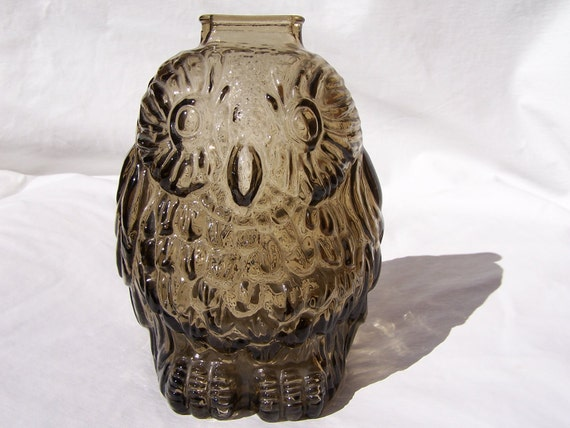 Vintage glass owl bank by libbey glassware - Wise old owl glass bank ...