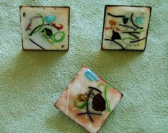 Vintage Collectible Renoir Style Handmade Enamel Jewelry Brooch & Earrings One of a Kind Mid Century Geometric Copper Unique Gifts for Her