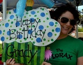 Happy Birthday Cupcake Burlap Door Hanger