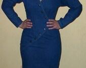 1980s Denim Long Sleeve Dress - size 5-7