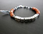 Eternity sterling silver goldstone swarovski crystal feather bracelet