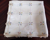 French vintage linen tablecloth, antique embroidered square cloth with small roses and ecru border.