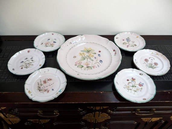 Set of antique faience earthenware plates hand painted in Lucerne, Switzerland