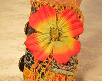 Orange Silk Flower OOAK Fiber Cuff Bracelet