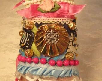 Pink Rosebud OOAK Fiber Cuff Bracelet