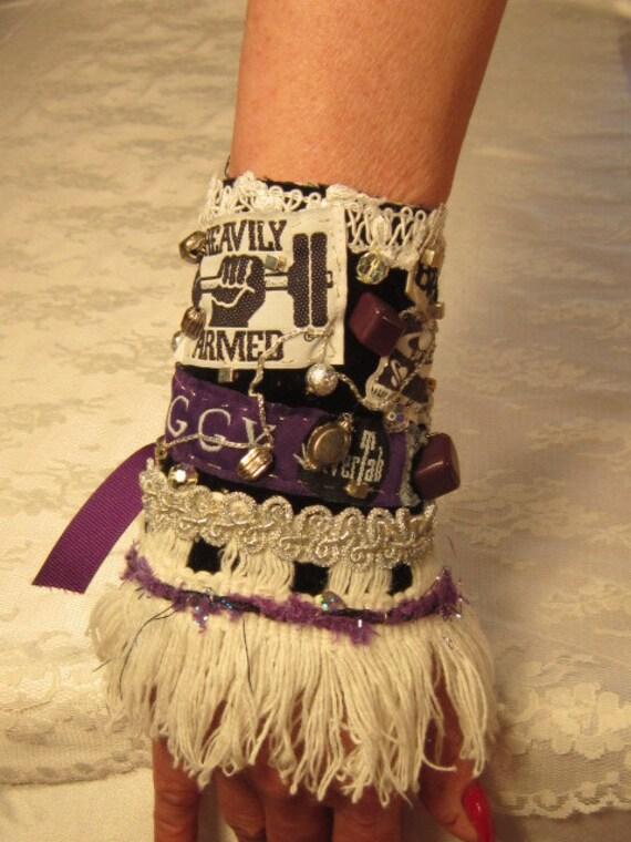 Purple Baggy OOAK Fiber Cuff Bracelet