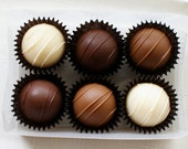 Homemade Milk, White, and Dark Chocolate Truffles - Box of 6 pieces