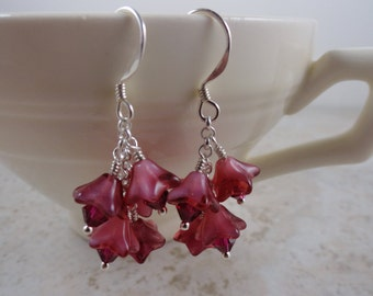 Sterling silver Pink Czech glass flowered earrings with Swarovski crystals
