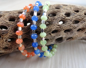 Sterling silver and Neon beaded bracelet Czech glass Orange, Blue, and lime green