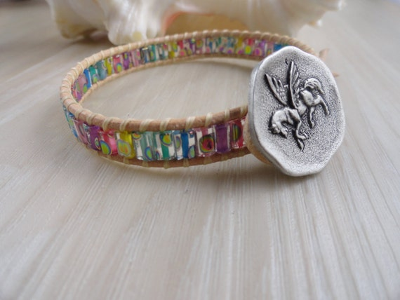 Leather beaded wrap  bracelet with Pegasus and Pastel Czech glass peacock beads
