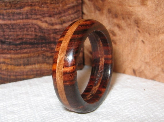 Size 9, Cocobolo and Lace Redwood Burl,  Wood Ring
