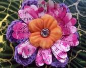 Posy Pin Repurposed Text Crochet Flower