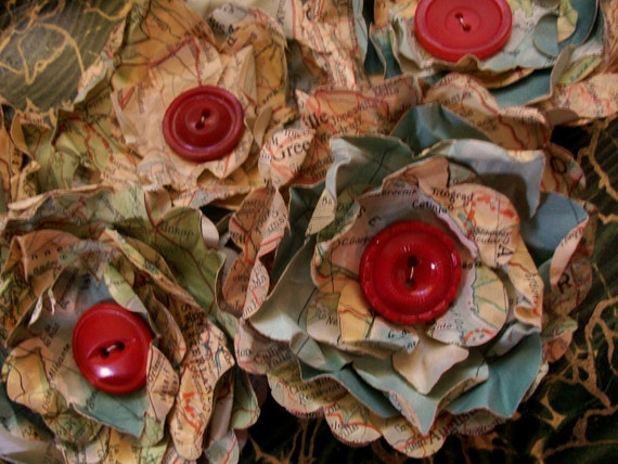 Paper Flowers Vintage Atlas Red Buttons Repurposed Recycled Upcycled Shabby Set of 3