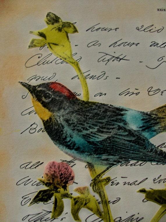 OOAK Original Art Collage Hand Colored Songbird Repurposed Emily Dickinson Script
