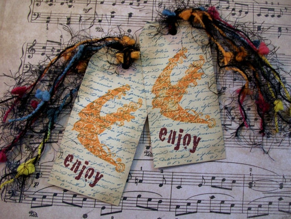 RESERVED FOR KIM Handmade Stamped And Inked 'enjoy' Tag Or Bookmark