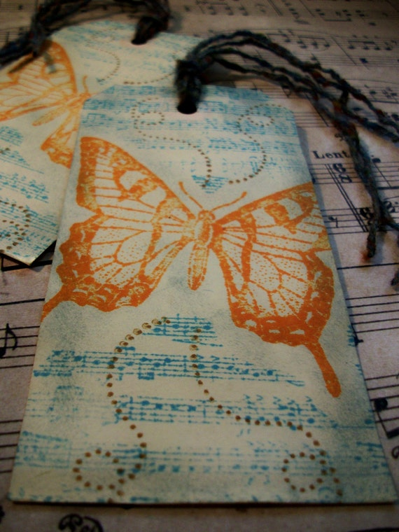 Handmade Stamped And Inked Butterfly Tag Or Bookmark