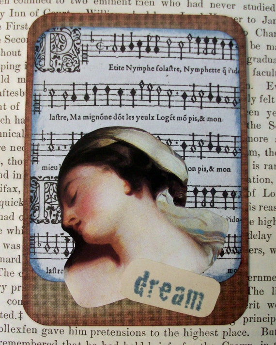 SALE ACEO  ATC one-of-a-kind collage and ink original art card 'dream'