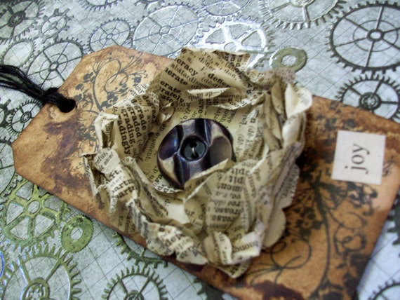 """OOAK Mixed Media """"joy"""" Tag With Repurposed Antique French Dictionary Flower"""