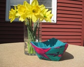 Teal, Pink and Purple Triangle Fabric Bowl