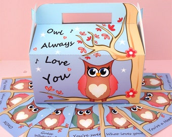 Printable PDF Valentine's Owl Treat Box & Gift Tags - INSTANT DOWNLOAD