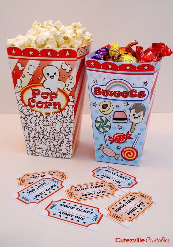 Printable Popcorn & Sweet 'Movie Night' Boxes PDF File - INSTANT DOWNLOAD