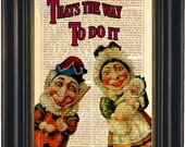 Punch and Judy Print on upcycled Vintage Page