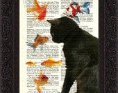 Cat Lover Print  Black Cat with Goldfish Print on repurposed vintage page Book Art Print Mixed Media - ForgottenPages
