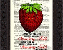 The Beatles Strawberry Fields Forever on upcycled Vintage Page mixed media digital