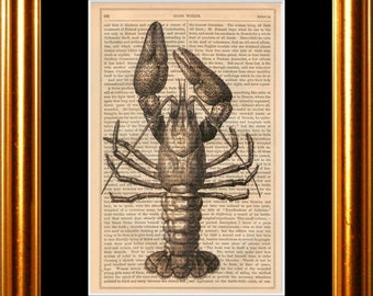 CrayFish print on vintage (1850's) upcycled book page mixed media digital