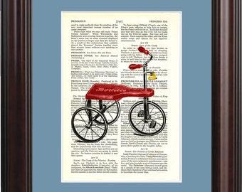 Kiddie tricycle print on upcycled Vintage Page mixed media digital print art